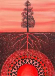 Watercolor painting by Catherine G. Mcelroy symbolizing the purpose of the Muladhara, the root chakra --- rootedness, groundedness. When we are not firmly rooted and grounded to our own center, we easily get swayed, influenced and manipulated. Trusting (the self and others) is one of the spiritual lessons associated with the root chakra. Image Source: http://boundforblisslife.com/