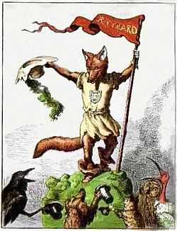 The trickster figure Reynard the Fox as depicted in an 1869 children's book by Michel Rodange. Image & Text Source: http://en.wikipedia.org/