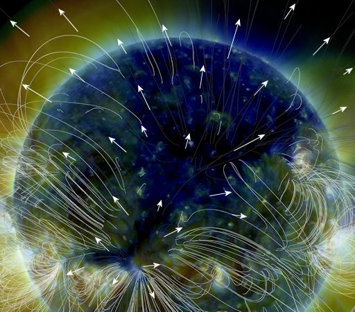 """""""The sun's magnetic field is traced by white curving lines. Outside the coronal hole, those magnetic fields curve back on themselves, trapping solar wind inside their loops. Inside the coronal hole, no such trapping occurs. Solar wind plasma is free to fly away as indicated by the white arrows."""" (Image and Text Source: http://spaceweather.com/)"""